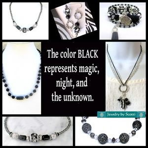 Black Necklaces, Bracelets, and Earrings